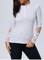 Long Sleeve Lace Insert Buttoned Tee