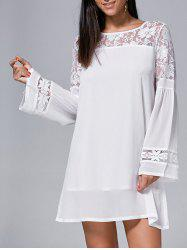Long Sleeve Lace Insert Mini Shift Dress