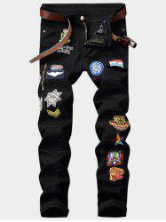 Cartoon Embroidered Appliques Zipper Fly Pocket Ripped Jeans - BLACK