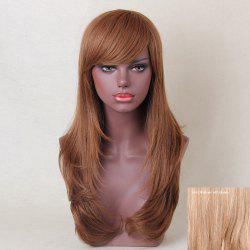 Long Oblique Bang Layered Tail Adduction Straight Human Hair Wig