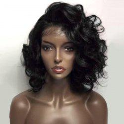 Deep Side Part Shaggy Short Loose Wave Lace Front Human Hair Wig - NATURAL BLACK