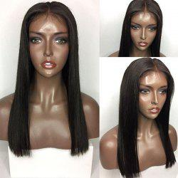 Long Center Part Straight Lace Front Human Hair Wig - NATURAL BLACK