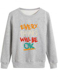 Long Sleeve Be OK Graphic Print Sweatshirt
