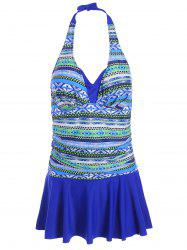 Tribal Print Halter Padded Plus Size Swimdress