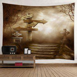 Halloween Guidepost Print Tapestry Wall Hanging Art Décoration - RAL1007 Gris Tourdille