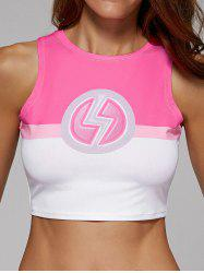 Slim Printed Color Block Jersey Crop Top For Women