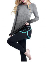 Running Ombre Yoga Long Sleeve Gym Top - BLACK M