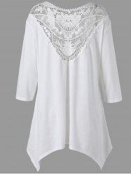 Handkerchief Lace Panel Drop Shoulder Plus Size Top