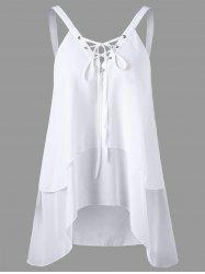 Criss Cross Front Layered Sleeveless Chiffon Blouse