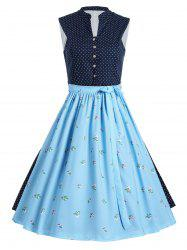 Button Up A Line Vintage Polka Dot Dress