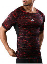Camouflage Raglan Sleeve Quick Dry Stretch Gym T-shirt - Rouge M
