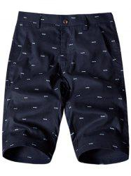 Allover Fish Bone Print Casual Shorts - ROYAL 38