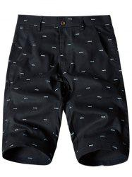 Allover Fish Bone Print Casual Shorts - BLACK 36