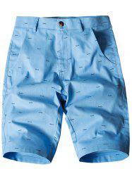 Allover Fish Bone Print Casual Shorts - AZURE 36