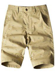 Allover Fish Bone Print Casual Shorts - EARTHY 36