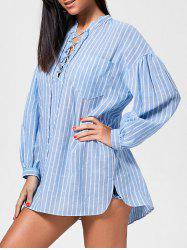 Drop Shoulder Lace Up Striped Shirt