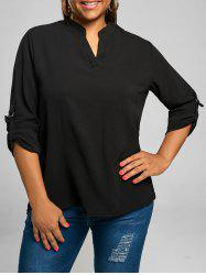 Plus Size Chiffon V Neck Long Sleeve Top