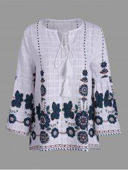 Floral Plus Size Bohemian Top with Tassel