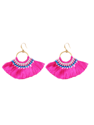 Ethnic Circle Tassel Braid Hook Earrings -