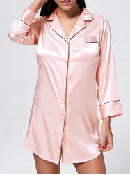 Satin Shirt Pajama Dress - PINK