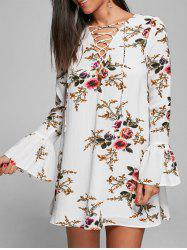 Bell Sleeve Floral Lace Up Mini Dress - WHITE