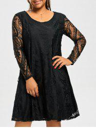Long Sleeve Sheer Lace Plus Size Casual Dress