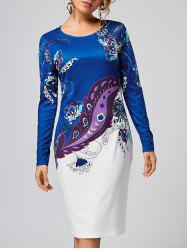 Printed Fitted Long Sleeve Dress