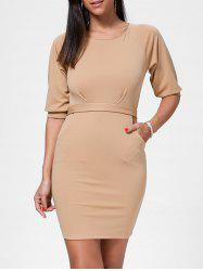 Belted Mini Skin Tight Work Dress - APRICOT