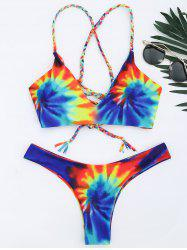 Criss Cross Tie Dye Braided Bikini Set - BLUE