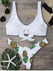 Pineapple Print Thong Bikini Set - WHITE