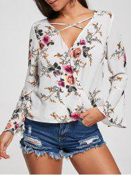 Criss Cross Floral Surplice Blouse - FLORAL
