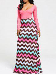 Zigzag Stripe Print Long Sleeve Maxi Dress - PAPAYA M