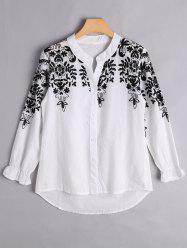 Floral Embroidered Button Up Blouse -