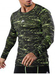 Camouflage Quick Dry Openwork Panel Gym T-shirt -