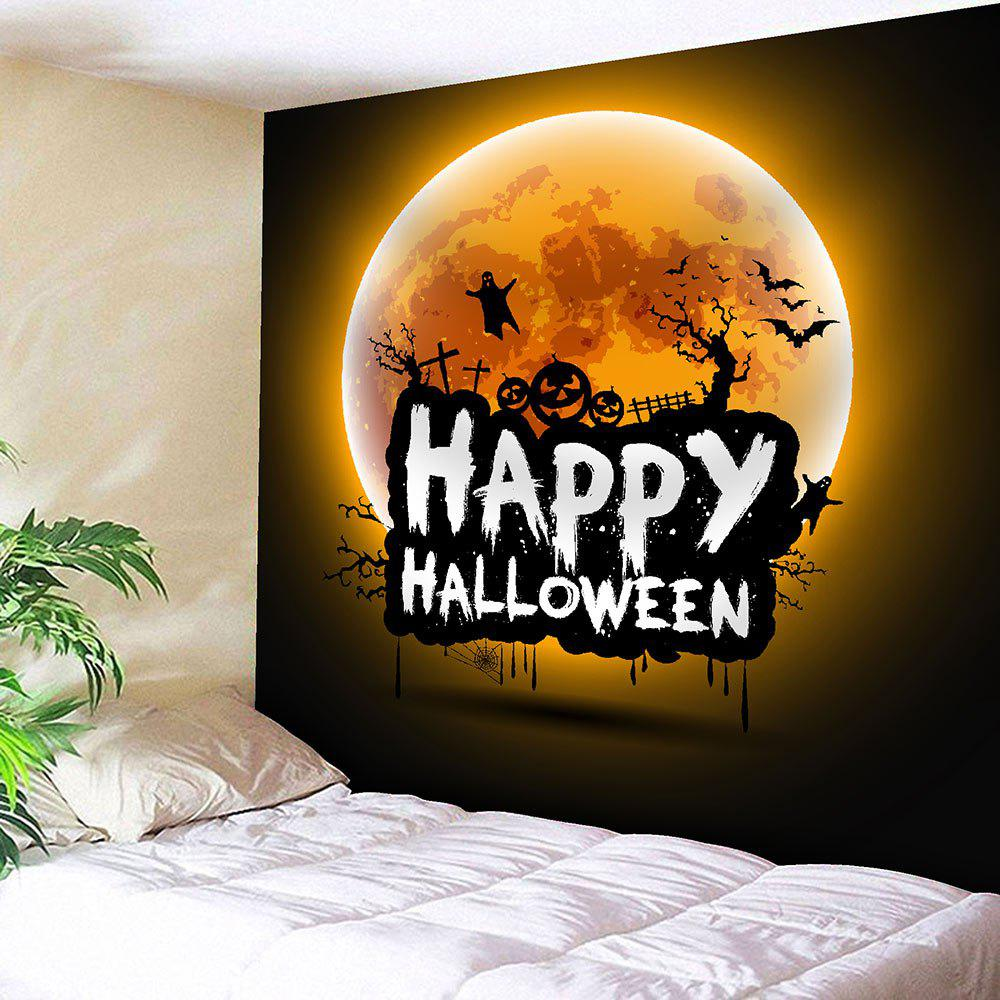 Waterproof Happy Halloween Moon Wall TapestryHOME<br><br>Size: W59 INCH * L51 INCH; Color: ORANGE; Style: Festival; Theme: Halloween; Material: Velvet; Feature: Removable,Washable; Shape/Pattern: Letter,Moon; Weight: 0.2100kg; Package Contents: 1 x Tapestry;
