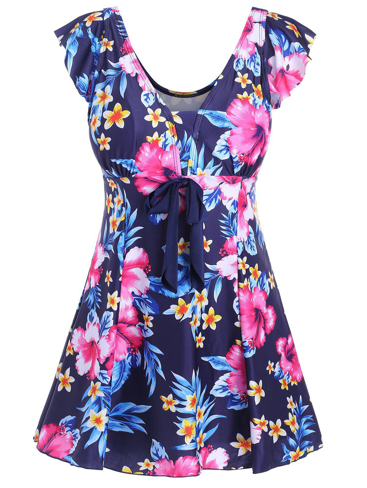 Underwire Padded Floral Plus Size SwimdressWOMEN<br><br>Size: 5XL; Color: BLUE; Gender: For Women; Swimwear Type: One Piece; Material: Polyester,Spandex; Bra Style: Padded; Support Type: Underwire; Pattern Type: Floral; Waist: High Waisted; Elasticity: Elastic; Weight: 0.4000kg; Package Contents: 1 x Swimdress;
