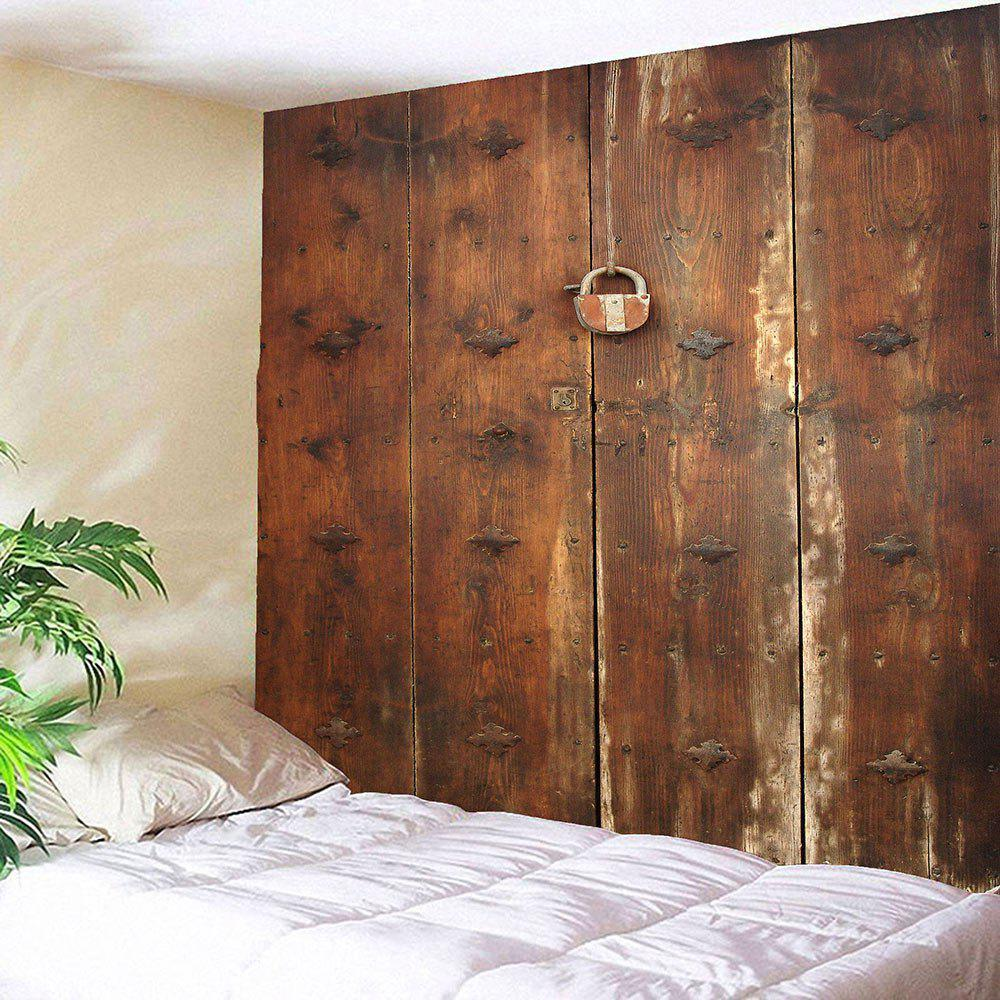 Wooden Door Lock Print Waterproof Wall Art TapestryHOME<br><br>Size: W79 INCH * L79 INCH; Color: BROWN; Style: Vintage; Material: Polyester; Feature: Removable,Washable; Shape/Pattern: Print; Weight: 0.4000kg; Package Contents: 1 x Tapestry;