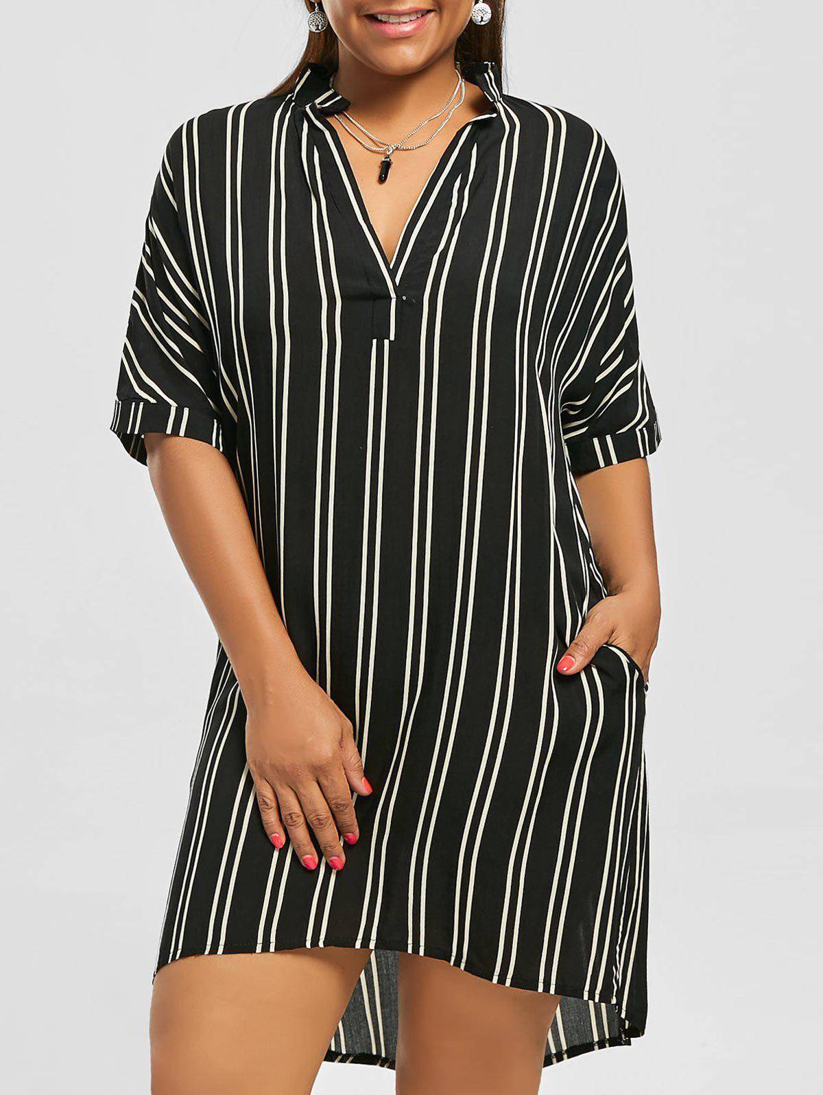 Casual Knee Length Plus Size Pockets High Low Stripe Shirt DressWOMEN<br><br>Size: 5XL; Color: BLACK; Style: Casual; Material: Cotton Blend,Polyester; Silhouette: A-Line; Dresses Length: Knee-Length; Neckline: V-Neck; Sleeve Length: Short Sleeves; Embellishment: Front Pocket; Pattern Type: Striped; With Belt: No; Season: Fall,Spring; Weight: 0.3100kg; Package Contents: 1 x Dress;