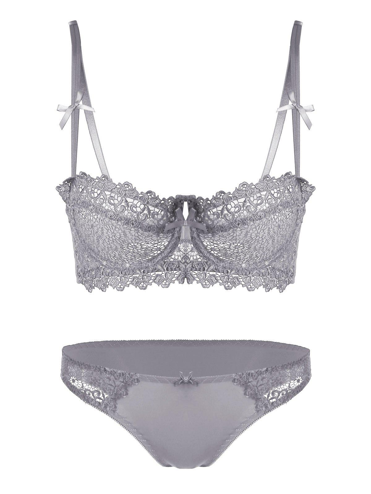 Latest Underwire Embroidered Sheer Bra Set