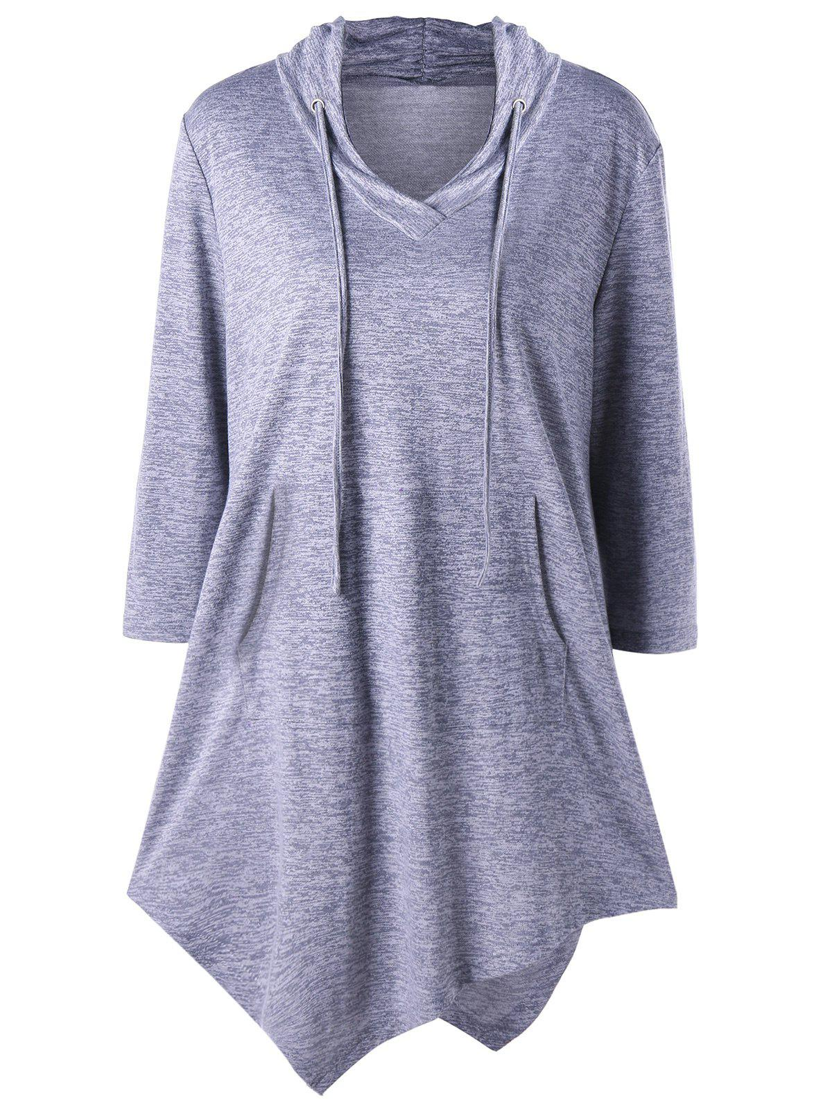Plus Size Kangaroo Pocket Asymmetrical Drawstring TeeWOMEN<br><br>Size: 4XL; Color: GRAY; Material: Polyester,Rayon; Shirt Length: Long; Sleeve Length: Three Quarter; Collar: Hooded; Style: Fashion; Season: Fall,Spring; Pattern Type: Solid; Weight: 0.3150kg; Package Contents: 1 x T-shirt;