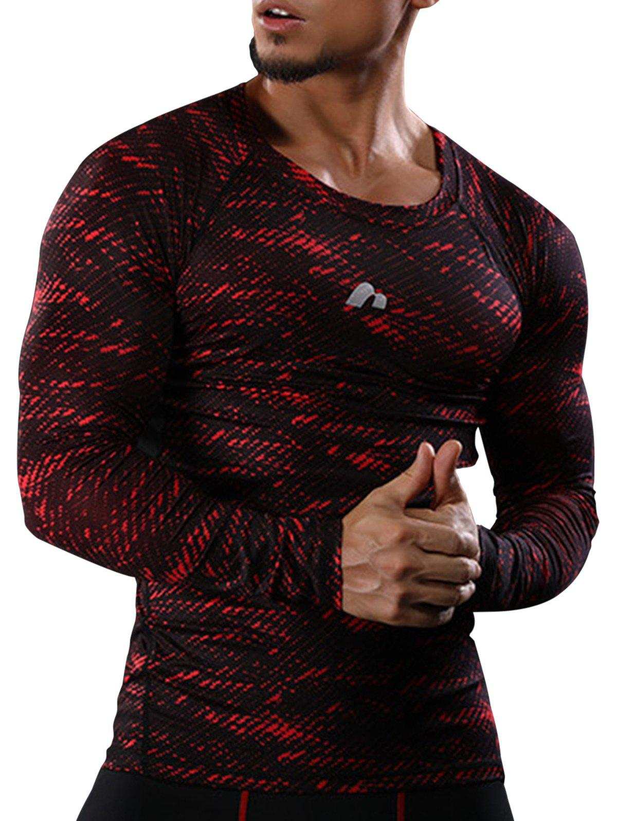 Camouflage Quick Dry Openwork Panel Gym T-shirtMEN<br><br>Size: M; Color: RED; Type: T-Shirt; Material: Polyester,Spandex; Pattern Type: Print; Weight: 0.1830kg; Package Contents: 1 x T-shirt;