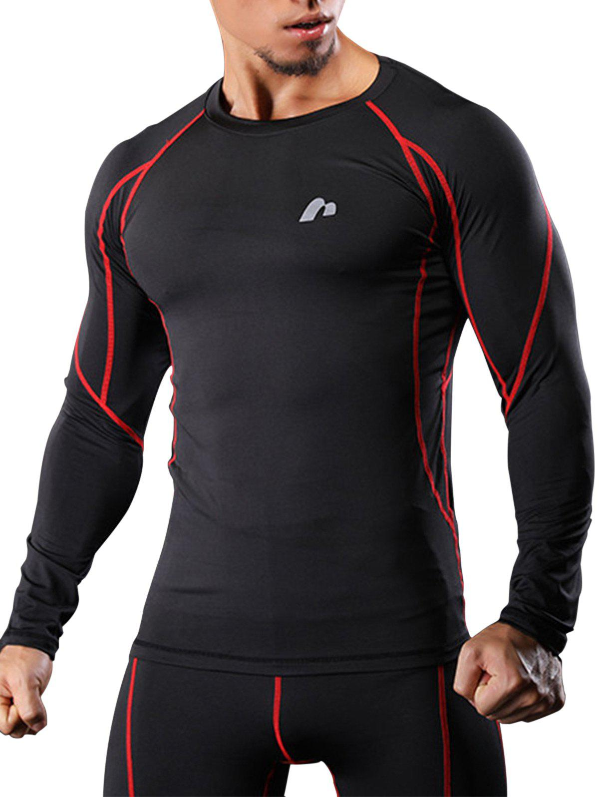 Raglan Sleeve Quick Dry Suture Stretchy Gym T-shirtMEN<br><br>Size: XL; Color: RED; Type: T-Shirt; Material: Polyester,Spandex; Pattern Type: Print; Weight: 0.2100kg; Package Contents: 1 x T-shirt;