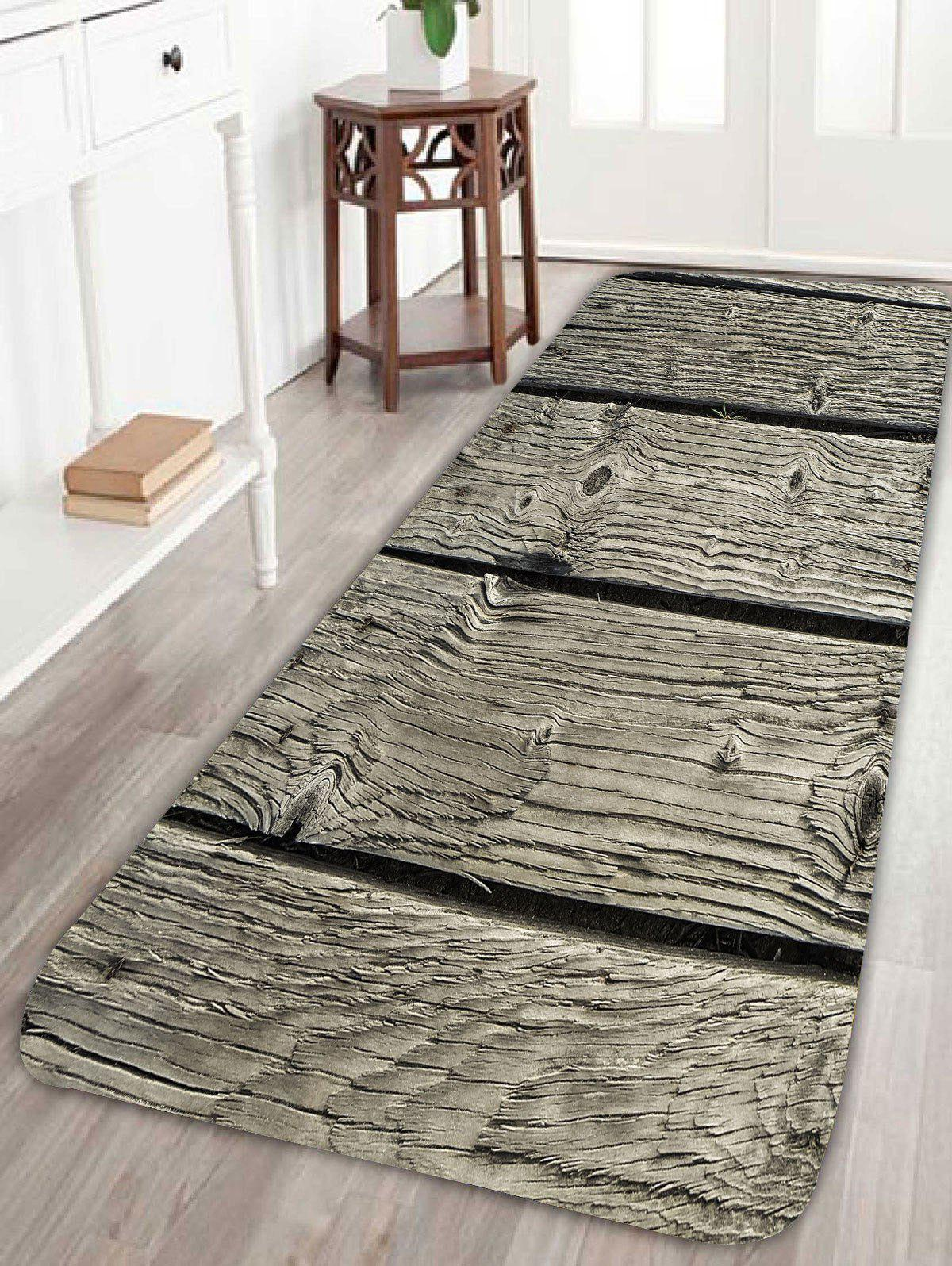 Soft Absorption Natural Wood Board Bath RugHOME<br><br>Size: W24 INCH * L71 INCH; Color: WOOD; Products Type: Bath rugs; Materials: Coral FLeece; Pattern: Print; Style: Vintage; Shape: Rectangle; Package Contents: 1 x Bath Rug;