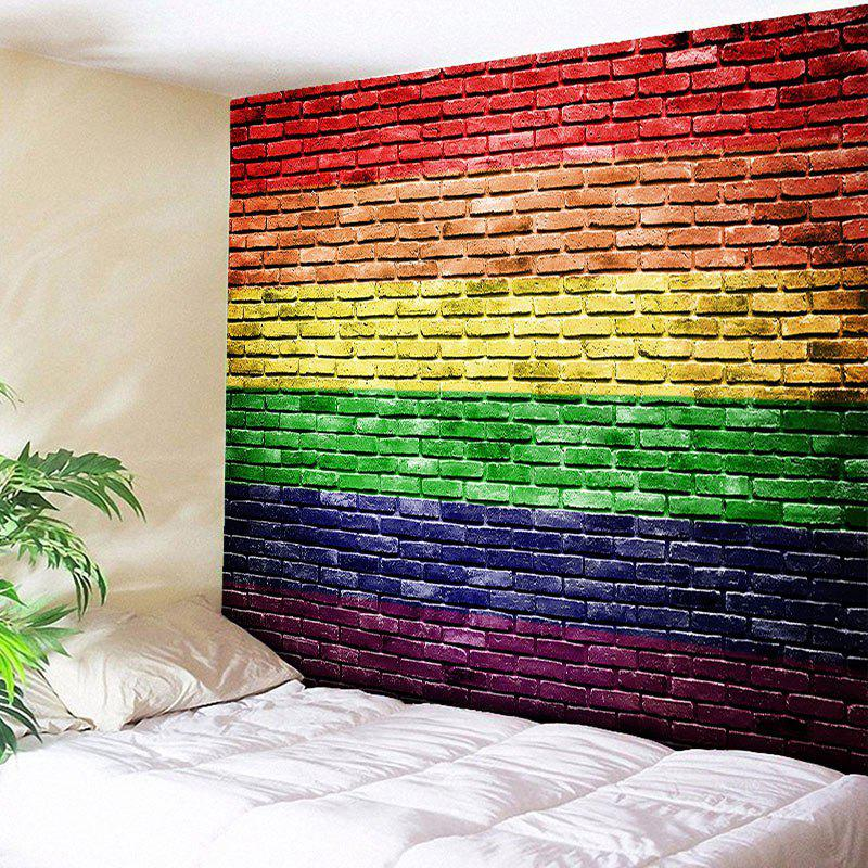 Rainbow Brick Wall Printed Tapestry Wall HangingHOME<br><br>Size: W79 INCH * L59 INCH; Color: COLORFUL; Style: Fresh Style; Material: Cotton,Polyester; Feature: Removable,Washable; Shape/Pattern: Striped,Wall; Weight: 0.3000kg; Package Contents: 1 x Tapestry;