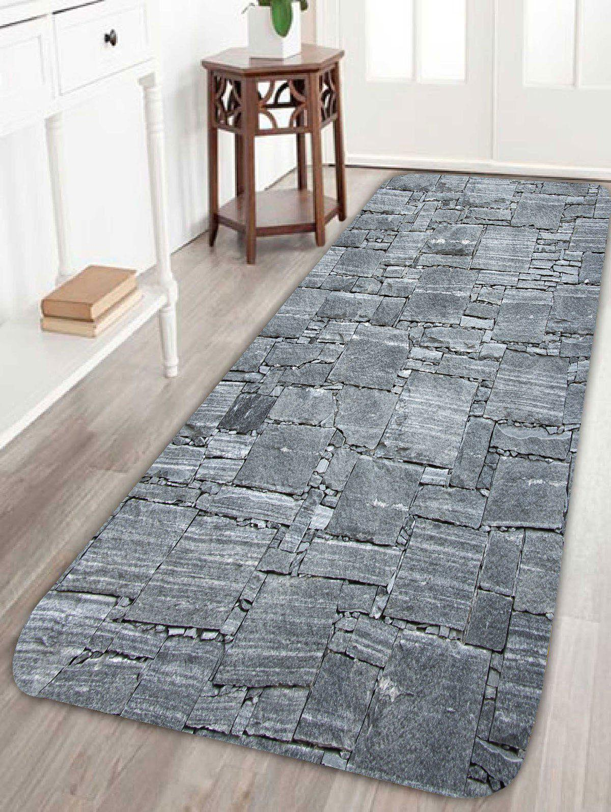 Coral Fleece Slabstone Pattern Large Door MatHOME<br><br>Size: W24 INCH * L71 INCH; Color: GRAY; Products Type: Bath rugs; Materials: Coral FLeece; Pattern: Print; Style: Vintage; Shape: Rectangle; Package Contents: 1 x Rug;