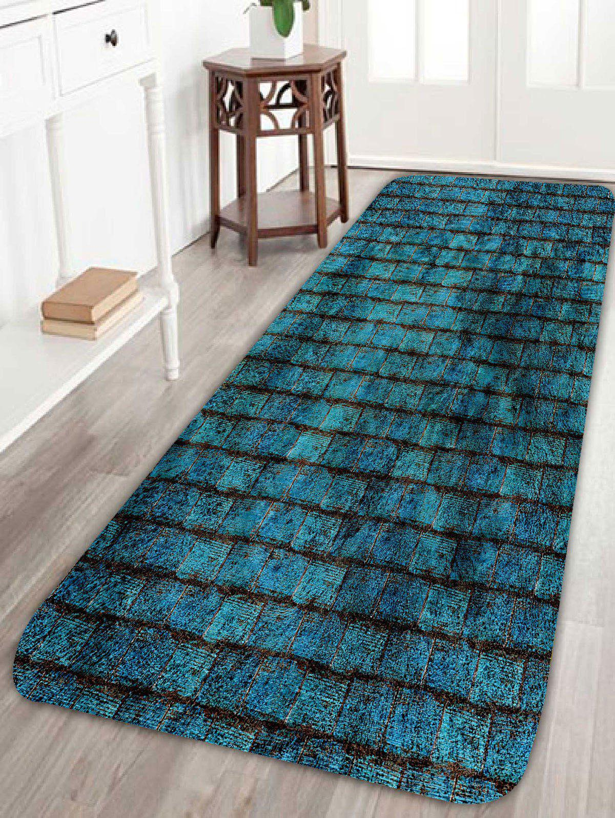 Brick Wall Soft Absorbent Door Entrance MatHOME<br><br>Size: W24 INCH * L71 INCH; Color: BLUE; Products Type: Bath rugs; Materials: Coral FLeece; Pattern: Print; Style: Vintage; Shape: Rectangle; Package Contents: 1 x Rug;