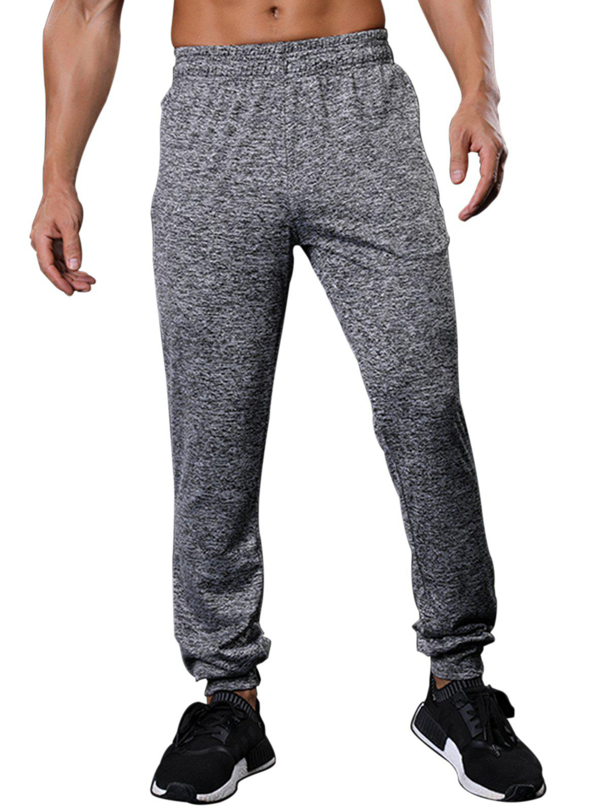 Zipper Pockets Drawstring Beam Feet Stretchy Gym PantsMEN<br><br>Size: M; Color: GRAY; Type: Pants; Material: Polyester,Spandex; Pattern Type: Solid; Weight: 0.2920kg; Package Contents: 1 x Pants;