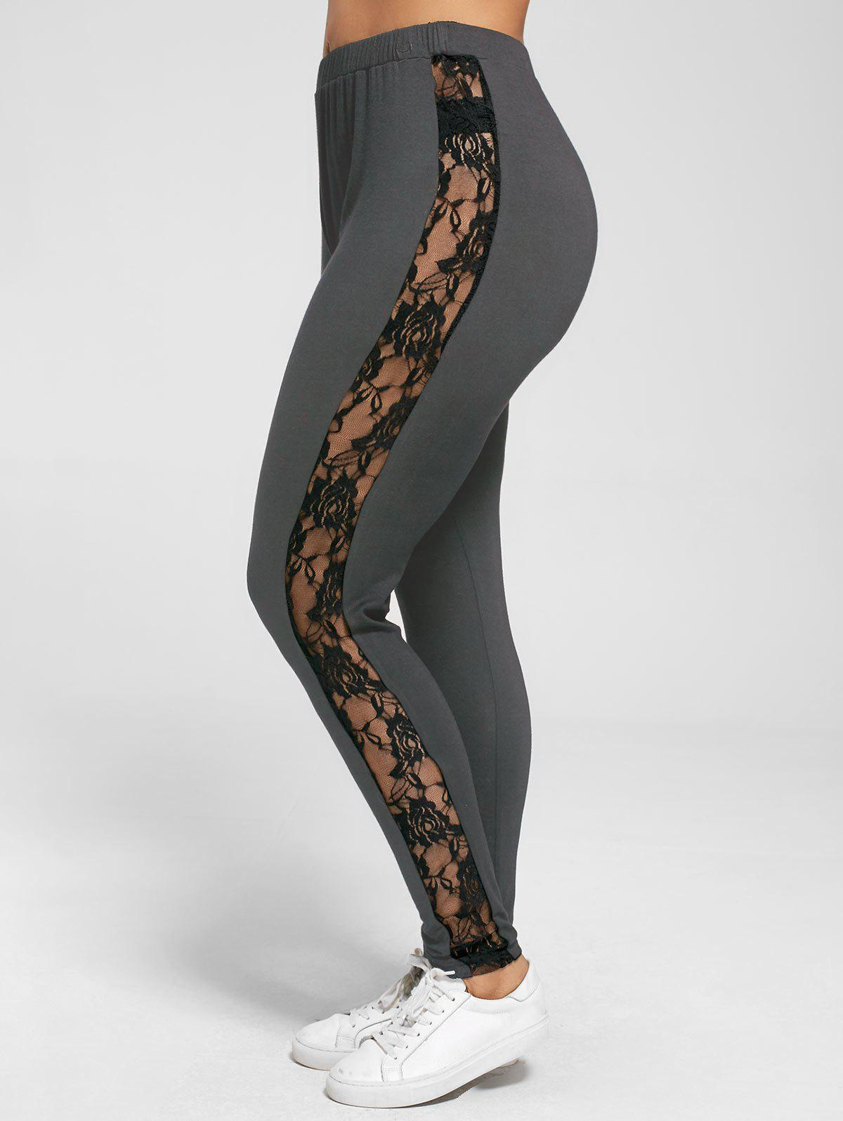Plus Size Lace Trim Sheer LeggingsWOMEN<br><br>Size: XL; Color: DEEP GRAY; Style: Casual; Length: Normal; Material: Rayon,Spandex; Fit Type: Skinny; Waist Type: Mid; Closure Type: Elastic Waist; Pattern Type: Floral; Embellishment: Lace; Pant Style: Pencil Pants; Weight: 0.2700kg; Package Contents: 1 x Leggings;