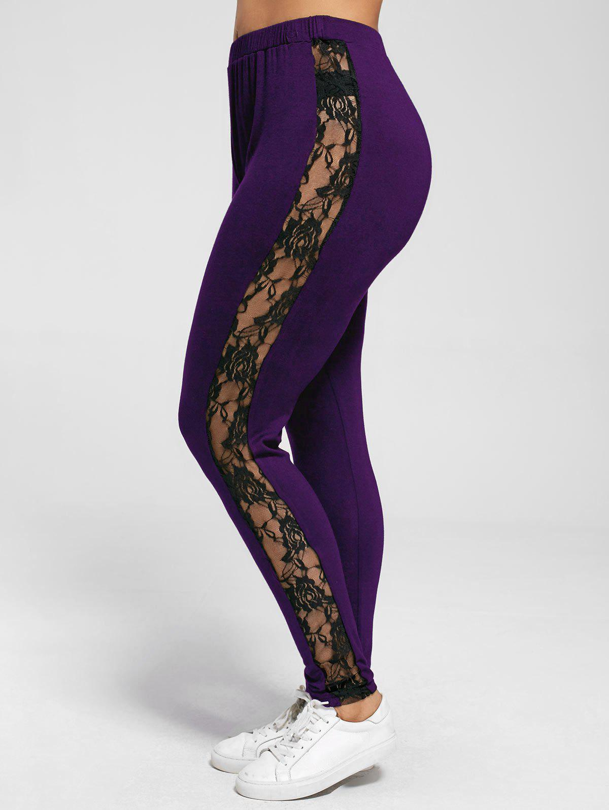 Plus Size Lace Trim Sheer LeggingsWOMEN<br><br>Size: XL; Color: PURPLE; Style: Casual; Length: Normal; Material: Rayon,Spandex; Fit Type: Skinny; Waist Type: Mid; Closure Type: Elastic Waist; Pattern Type: Floral; Embellishment: Lace; Pant Style: Pencil Pants; Weight: 0.2700kg; Package Contents: 1 x Leggings;