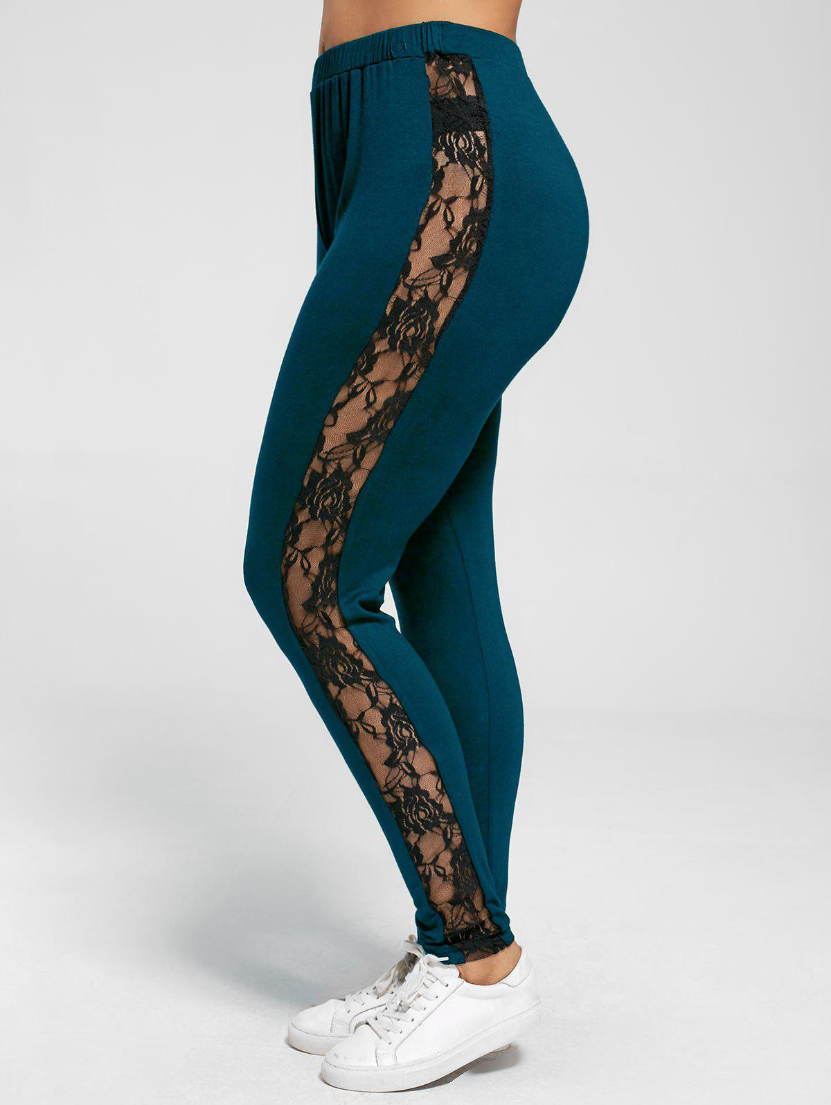 Plus Size Lace Trim Sheer LeggingsWOMEN<br><br>Size: 3XL; Color: PEACOCK BLUE; Style: Casual; Length: Normal; Material: Rayon,Spandex; Fit Type: Skinny; Waist Type: Mid; Closure Type: Elastic Waist; Pattern Type: Floral; Embellishment: Lace; Pant Style: Pencil Pants; Weight: 0.2700kg; Package Contents: 1 x Leggings;